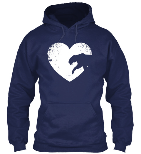 I Love Tiger T Shirt Tiger Heart Valenti Navy T-Shirt Front