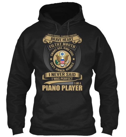 Piano Player   Brave Heart Black T-Shirt Front