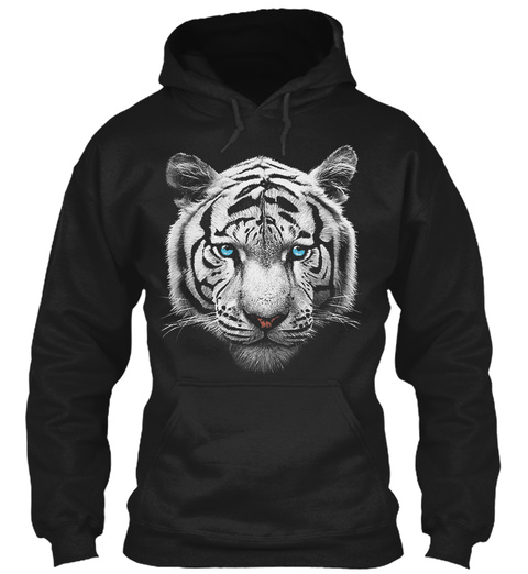 White Tiger Hoodie Black T-Shirt Front