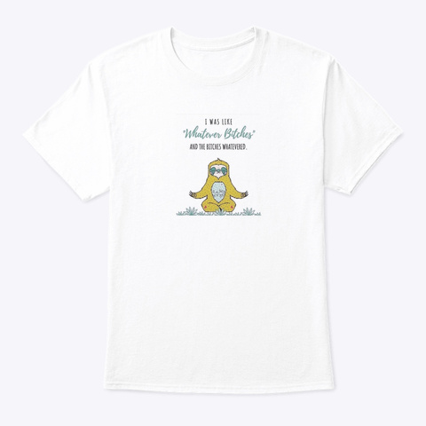 Meditating Sloth White T-Shirt Front