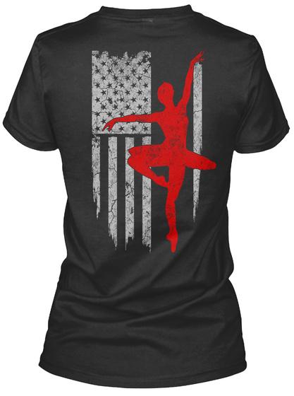 Ballet   Usa Flag Black T-Shirt Back