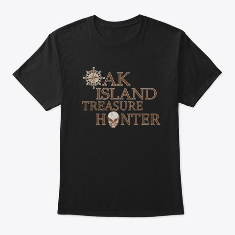 Oak Island Treasure Hunter Vintage Skull Black T-Shirt Front