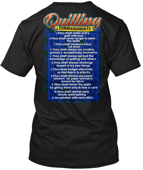 Quilting Commandments Black T-Shirt Back