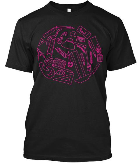 Drafting Tee Pink Black T-Shirt Front