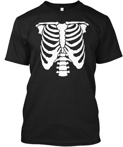 Skeleton Halloween Radioactive Rib Cage  Black T-Shirt Front