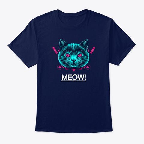 Meow! (Unisex T Shirt) Navy T-Shirt Front