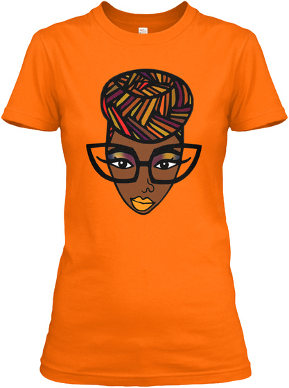 Queen Afro Styles Orange T-Shirt Front