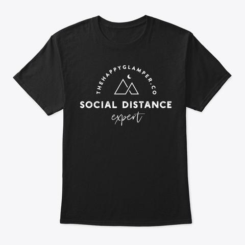 Social Distance Expert Black T-Shirt Front