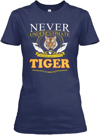 Tiger Animals Tshirt Navy T-Shirt Front