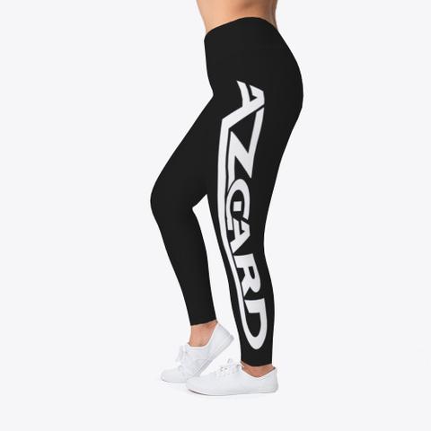 Azgard Leggings   White Logo Design Black T-Shirt Left