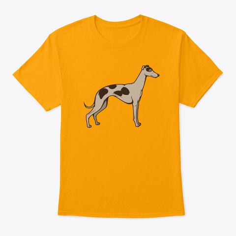 Running Machine Greyhound Dog Art Gold T-Shirt Front