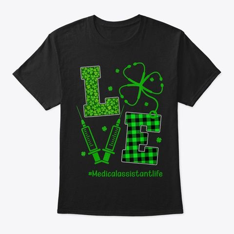 Green Plaid Love Shamrock Stethoscope Black T-Shirt Front