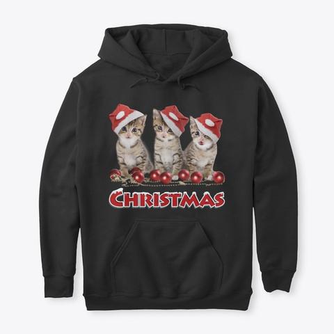 Christmas Cat T Shirts!! Black T-Shirt Front