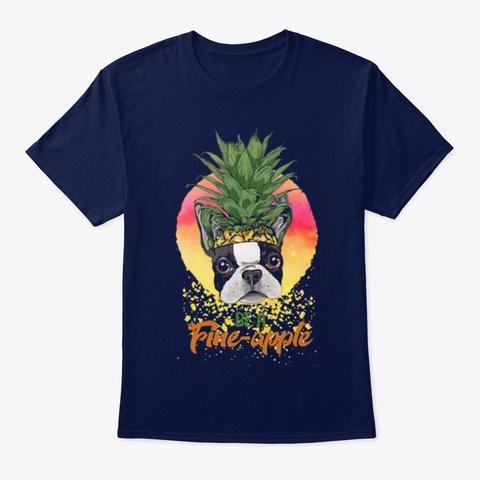 Dog Pug Be A Fine Apple Navy T-Shirt Front