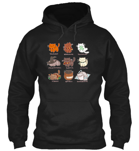 Cats Character  Hoodie Black T-Shirt Front