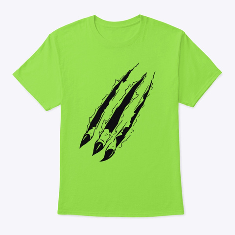 Tiger Claws Tshirt Lime T-Shirt Front