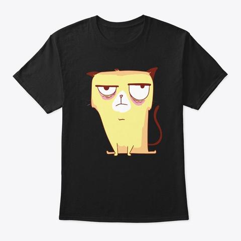 Funny Grumpy Yellow Cat Black T-Shirt Front