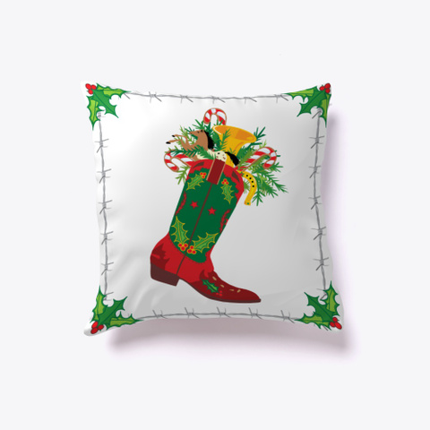 Holiday Boot Pillow White T-Shirt Front