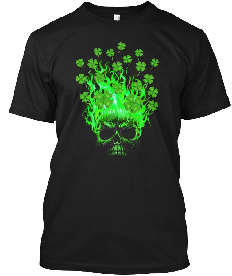 St Patricks Day Skull Shamrok Fire – V-neck T Shirt Red Up To 5XL