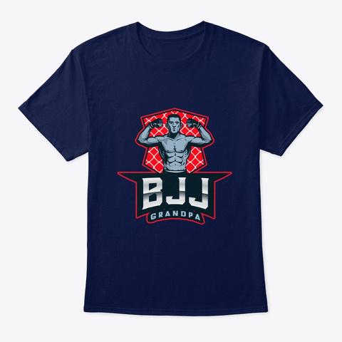 Bjj Grandpa Mma Brazilian Jiu Jitsu Navy T-Shirt Front