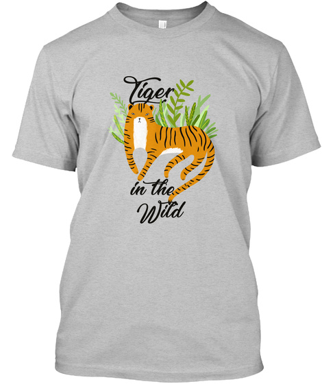 Tiger In The Wild Light Heather Grey  T-Shirt Front