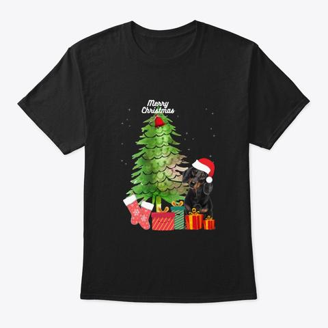 Dachshund T Shirt Funny  Xmas T Shirt Black T-Shirt Front