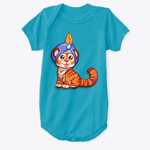 Mod.57 Cutiez Wear Cute Little Tiger Ver1 Turquoise T-Shirt Front