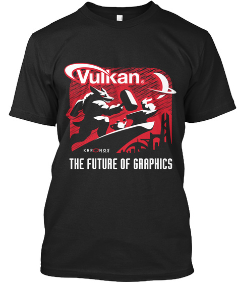 Vulkan Khr Nos The Future Of Gaaphics Black T-Shirt Front