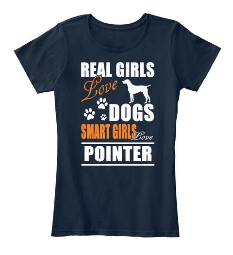 Smart Girl Loves Pointer New Navy T-Shirt Front