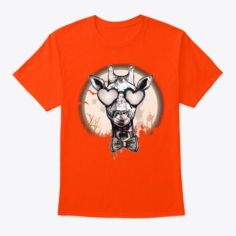 Halloween Giraffe Lover Gift Zombie Orange T-Shirt Front
