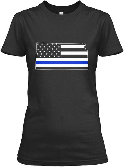 Kansas Thin Blue Line Women's T Shirts Black T-Shirt Front