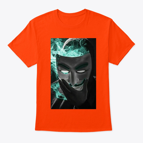 Hacker With Smoke Merch Orange T-Shirt Front