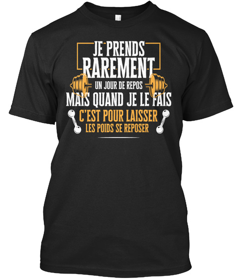 Jour De Repos   Muscu T Shirt Black T-Shirt Front
