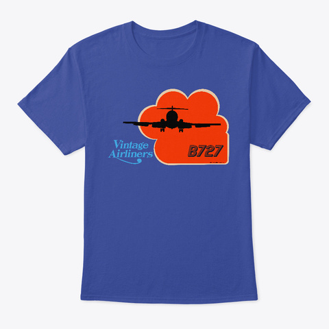 Vintage Airliners Jet Age Airplane Deep Royal T-Shirt Front