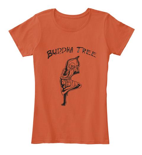 Yoga Pose Shirt   Buddha Tree   Namaste  Deep Orange T-Shirt Front