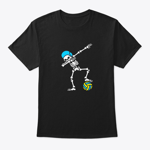 Funny Dab Dabbing Skeleton Water Polo Black T-Shirt Front