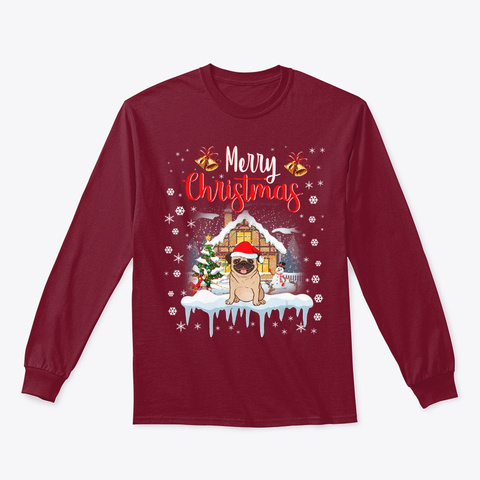 Pug Santa Hat Merry Christmas Dog Lover Cardinal Red T-Shirt Front
