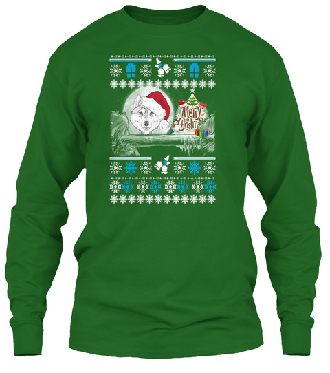 Wolf Ugly Christmas Sweater Irish Green T-Shirt Front