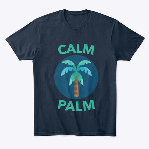 Calm Palm New Navy T-Shirt Front