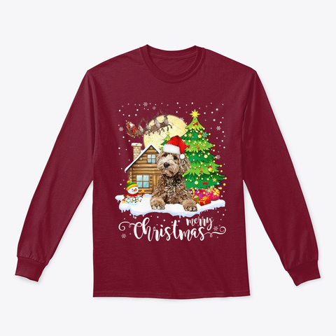 Labradoodle Merry Christmas Dog Lover Cardinal Red T-Shirt Front
