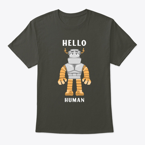 Hello Human Smoke Gray T-Shirt Front