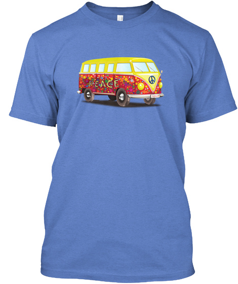 Magical Peace Bus Heathered Royal  T-Shirt Front