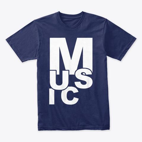 Scrambled Music (White) Midnight Navy T-Shirt Front