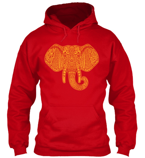 Elephant Art Red T-Shirt Front