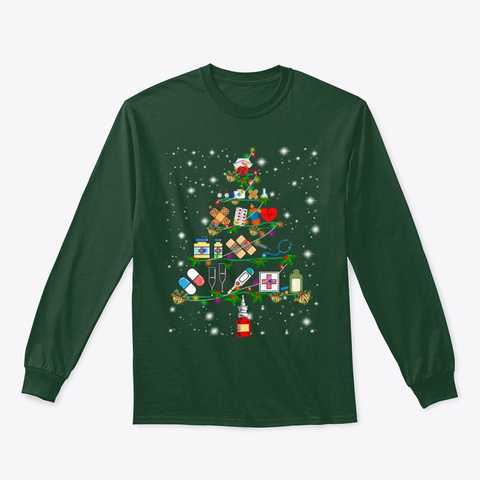 Nurse Christmas Tree Tee Matching Family Forest Green T-Shirt Front
