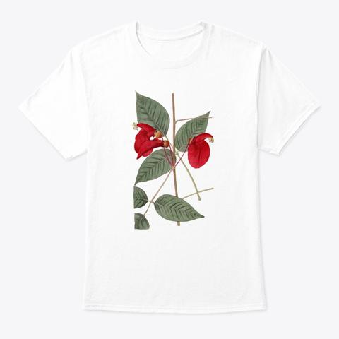 Botanical Vintage Flower Botany  White T-Shirt Front