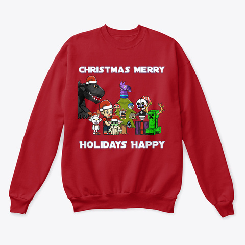 Christmas Merry/Holidays Happy Deep Red  T-Shirt Front