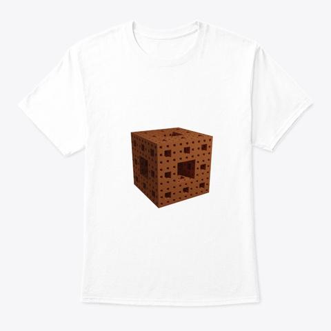 3 D Fractal Menger Sponge White T-Shirt Front