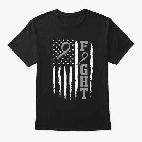 Fight Brain Cancer American Flag Shirt Black T-Shirt Front