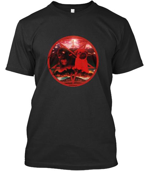Red Pugtagram Black T-Shirt Front